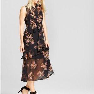 Who What Wear Sheer Ruffle Midi Dress Floral XS
